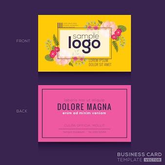 Mignon Motif floral Carte de visite carte de visite Modèle de conception