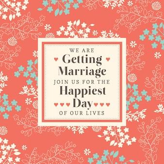 Mignon Motif floral modèle d'invitation de mariage