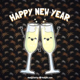 Mignon nouvelle année toasts fond