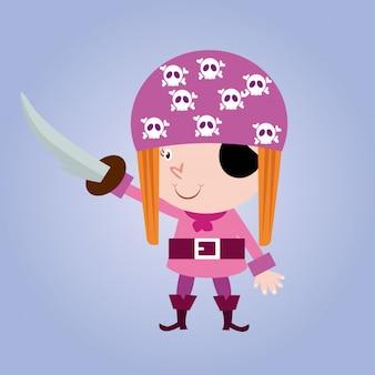 Mignon petit pirate filles mer femme voleur personnage de dessin animé