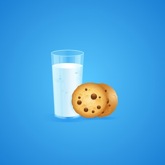 Milk and cookies background