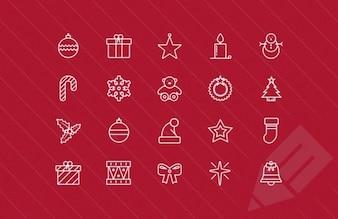 Mince collection d'icônes de Noël