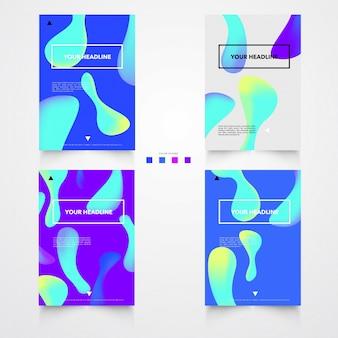 Modèle d'affiche de formes brillantes en plastique