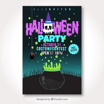 Modèle d'affiche halloween coloré