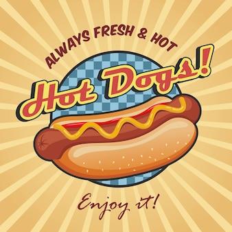 Modèle d'affiche hot dog américain