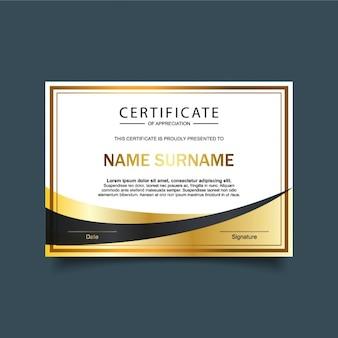 Modèle d'attestation de certificat d'or et blanc