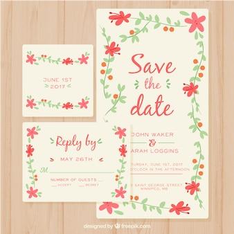Modèle d'invitation amusant avec cadre floral