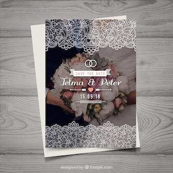 Modèle d'invitation de mariage avec bouquet