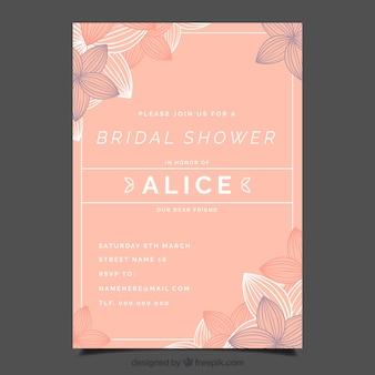 Modèle d'invitation nuptiale de douche avec des fleurs abstraites