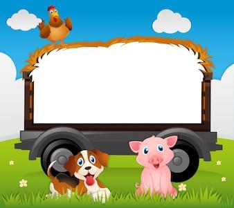 Modèle de bordure avec chien et cochon