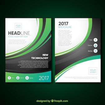 Modèle de brochure avec des courbes modernes