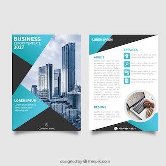 Modèle de brochure d'affaires avec des éléments bleus