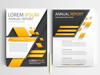 Modèle de brochure d'affaires avec des formes géométriques orange et noir