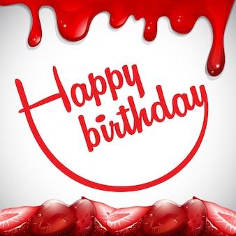 Modèle de carte d'anniversaire avec confiture de fraises
