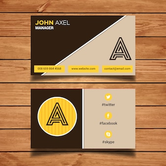 Modèle de carte de visite marron et jaune