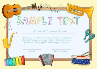 Modèle de certificat avec instruments de musique