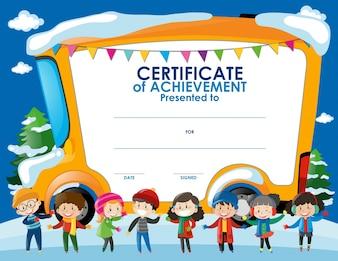 Modèle de certificat avec les enfants en hiver