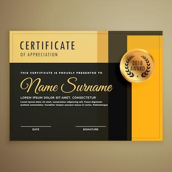 Modèle de certificat de conception de certificat premium