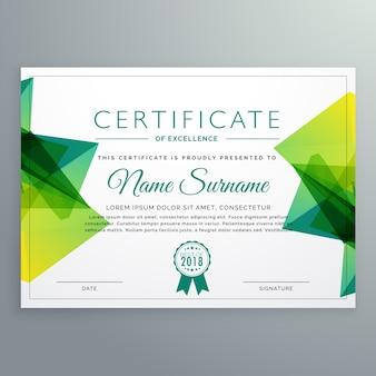 Modèle de certificat de vecteur moderne avec formes abstraites vertes