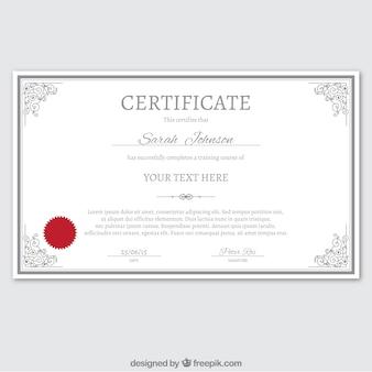 modèle de certificat en style ornemental