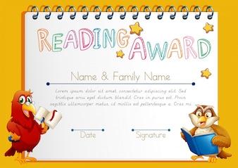 Modèle de certificat pour l'attribution de la lecture