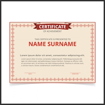 Modèle de certificat vectoriel avec bordures rouges