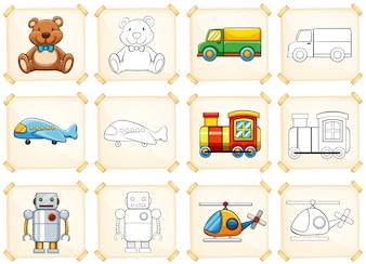 Modèle de coloriage pour différents jouets
