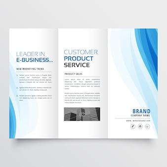 Modèle de conception de brochure triplé avec des formes ondulées bleues