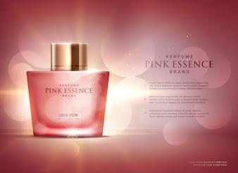 Modèle de conception de concept de publicité d'essence parfum génial avec un beau fond de bokeh