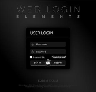 Modèle de connexion Web noir