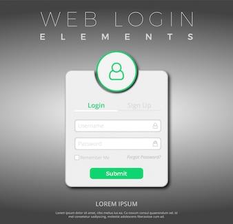 Modèle de connexion Web vert et blanc