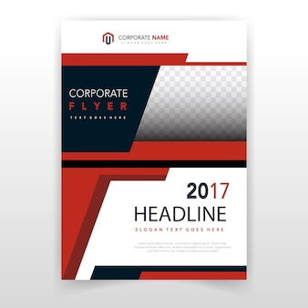 Modèle de couverture de brochure en forme rouge