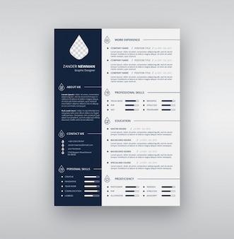 Modèle de CV bleu et blanc
