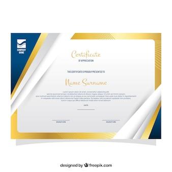 Modèle de diplôme avec bordure en or