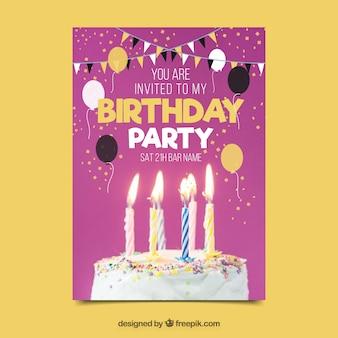 Modèle de fête d'anniversaire avec gâteau