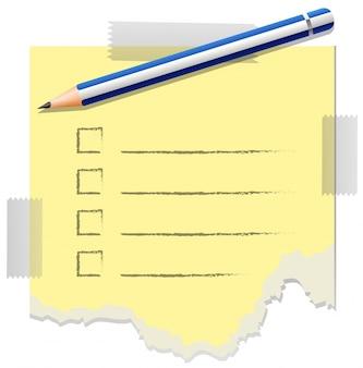 Modèle de liste de contrôle avec un crayon