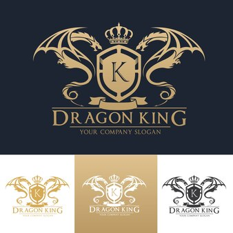 Modèle de logo de crête de luxe Dragon.