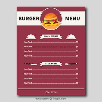 Modèle de menu de burger plat