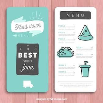Modèle de menu de camion alimentaire minimaliste