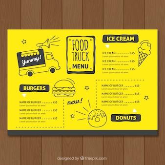 Modèle de menu de camion de nourriture