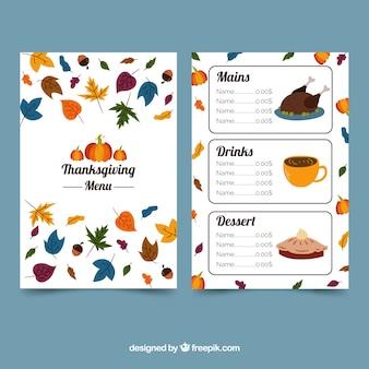 Modèle de menu de Thanksgiving