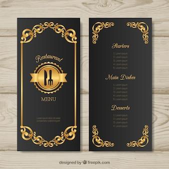 Modèle de menu doré avec style rétro