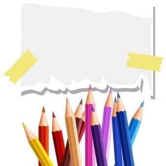 Modèle de papier avec beaucoup de crayons de couleur en arrière-plan