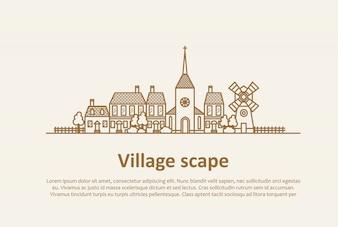 Modèle de paysage de village