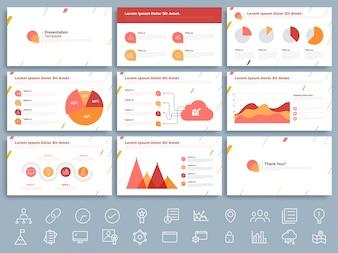 Modèle de présentation d'entreprise avec des éléments infographiques.