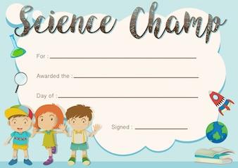 Modèle de prix du champion scientifique avec les enfants en arrière-plan