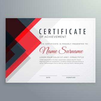 Modèle de récompense de certificat de réussite créative avec des formes rouges et clue