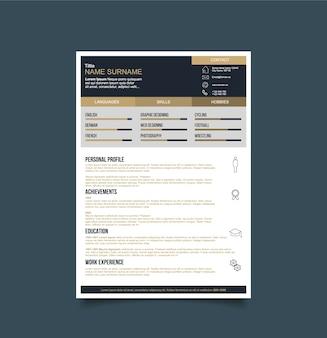 Modèle de résumé noir et or