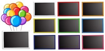 Modèle de tableau avec des ballons colorés