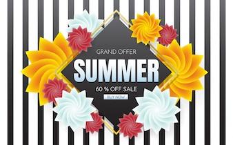 Modèle de vente d'été bannière Vector background